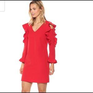 Nicole Miller Ruffle Sleeve Sheath Dress